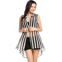 Womens Casual Sleeveless See-through Chiffon Button Down Collar Striped Loose Shirt