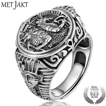 MetJakt Ancient Egyptian Mythology Wolf God Anubis Rings Solid 925 Sterling Silver Open Ring for Men Vintage Thai Silver Jewelry