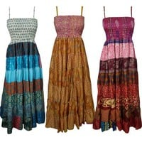 Mogul Wholesale Lot Of 3 Pcs Womens Sundress Recycled Vintage Sari Patchwork Maxi Dresses - Walmart.com
