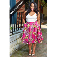 Chidera African Print Midi Circle Skirt (Pink/Tan/Brown)