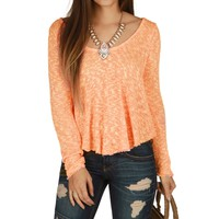 Sale-peach Just Loungin Knit Top