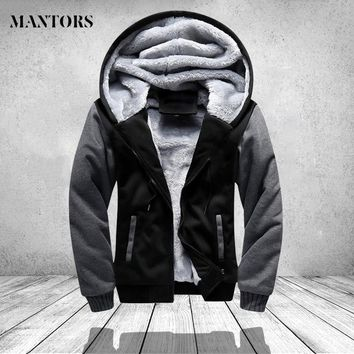 Trendy Winter Warm Jacket Men Hooded Casual Wool Thickened Sweatshirts Coat Zipper Cardigan Hoody Man Clothing Patchwork Fleece Outwear AT_94_13