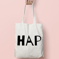 Tote Bag Canvas Funny Typhography Totes  - Happy Bag Half Piece - Market Bag Canvas - Printed Tote Bag Hand Drawn - Quote Tote Bag