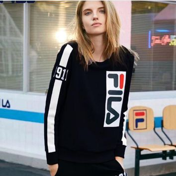MDIGNO FILA Fashion Women Men Contrast SweaterShirt Black