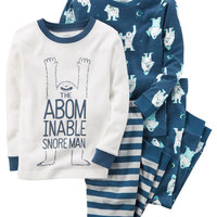 4-Piece Snoreman Snug Fit Cotton PJs