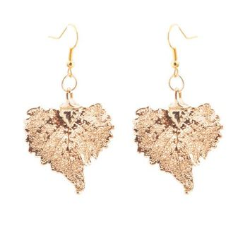 Real Gold leaf Earrings Cottonwood Leaf - Small