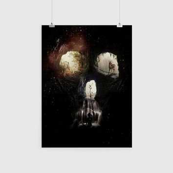 Cave Skull Poster, Cool Skull Wall Art, Quality Sugar Skull Home Decor