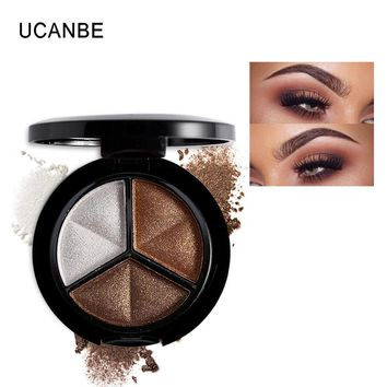UCANBE Makeup Shimmer Eyeshadow Palette 3 Colors Smoky Cosmetics Set Professional Natural Matte Eye Shadow Sleek Palette Glitter