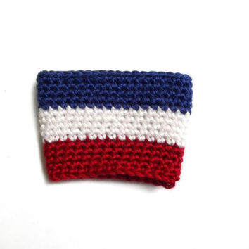 Red White and Blue Coffee Cozy, American Flag Coffee Cozy, Patriotic Cozy