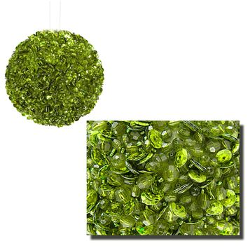 "Lavish Lime Green Fully Sequined & Beaded Christmas Ball Ornament 4.25"" (110mm)"
