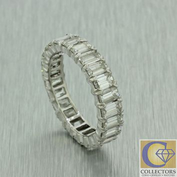 Modern Vintage Solid Platinum 6.25ctw Diamond Eternity Wedding Band Ring 4.8g