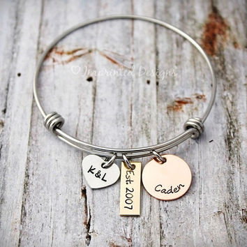 Charm Bracelet - Wire Bangle - Mother Bracelet - Personalized - Mixed Metal - Est. - Family Bracelet - New Mom - Mom of One - Couple Jewelry
