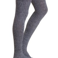 Lt Gray Ribbed Over-the-Knee Socks by Charlotte Russe