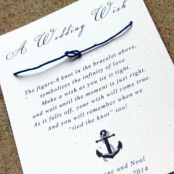 Nautical Wedding Favors, Navy Blue, Sailor Themed Wedding, Wedding Wish Bracelet, Tying the Knot wedding favors, set of 80 Guest Gifts