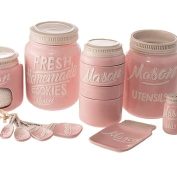 Goodscious 7-Piece Mason Jar Ceramic Kitchenware and Measuring Sets - Cookie Jar, Sponge Scrubber Holder, Utensil Crock, Salt and Pepper Shakers, Spoon Rest, Measuring Cups, Measuring Spoons (Pink)