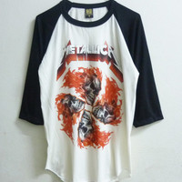 Raglan tshirt  Metallica shirt Baseball Heavy Metal T-shirt  Skull vintage tshirt men women t shirts Off-white shirt