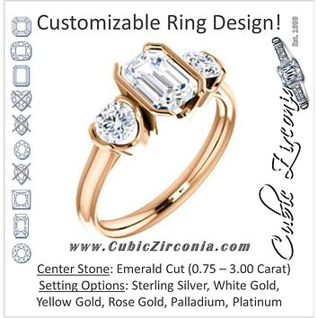 Cubic Zirconia Engagement Ring- The Lula (Customizable 3-stone Bezel Design with Emerald Cut Center and Round Cut Accents)