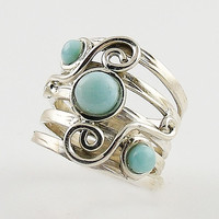 Larimar Sterling Silver Scroll Band Ring