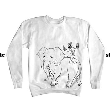 Party Monkey Elephant Ride | Monkey Elephant Sweatshirt | Funny Animal Clothing