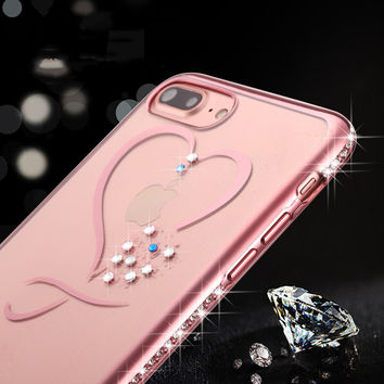 Crystal Phone Cases For iphone 7 Ultra Thin Clean Soft TPU Rose Gold Plating Glitter Diamond Cover For iphone 7 7 Plus 6 6s Plus-04105