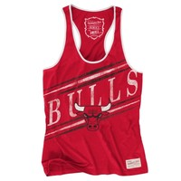 Women's Chicago Bulls Mitchelle & Ness Red Game Clock Tank Top