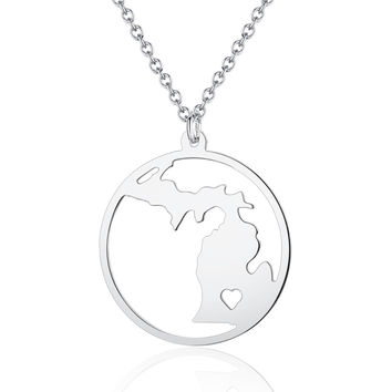 Personalized Circle Michigan State Map Necklace with a heart - Map Pendant Jewelry