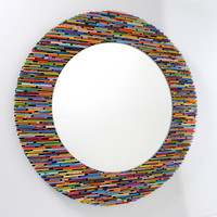 Brightly Colored Round Mirror (made from recycled magazines)