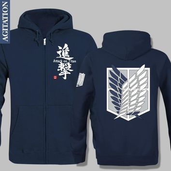 Cool Attack on Titan Fleece Design Jacket Hoodies Anorak Velvet Hoody Warm Anime  AOT  Wing Scouting Legion SL Survey Corps Men AT_90_11