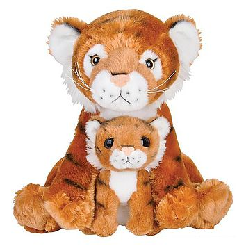 "11 and 5.5"" Stuffed Tiger Mom and Baby Plush Floppy Zoo Animal Family Collection"