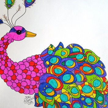 Pink and Red Peacock with Colorful Feathers Marker Drawing 9x12, Original Animal Art