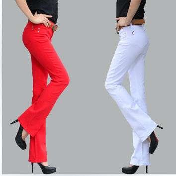2016 spring candy color elastic bell-bottom jeans female trousers slim boot  Micro flared jeans female trousers candy colors