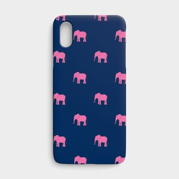 Elephant Cell Phone Case iPhone X - Pink on Navy