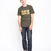 David Bowie Glitter Men's Crew - Forest Green