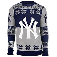 MLB New York Yankees Big Logo Ugly Crew Neck Sweater, Small