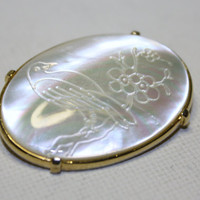 Vintage Brooch Etched Mother Of Pearl Bird 1950s by patwatty