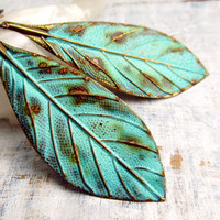 Mint Patina bohemian Leaf earrings Bohemian by Gypsymoondesigns
