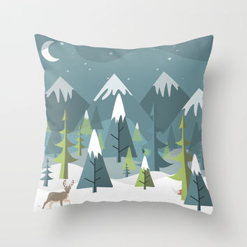 Winter Forest Throw Pillow by Studio Tesouro