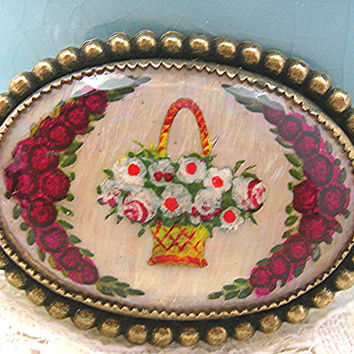 Antique Victorian Brooch, Intaglio Glass Dome Pin, Reverse Painted Flowers, Red Roses, Basket of Flowers, Brass Setting, Bezel Set Glass