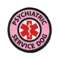 Pink Psychiatric Service Dog Medical Alert Symbol Black Rim Patch with VELCRO® brand Hook Fastener Backing (Choose Size)