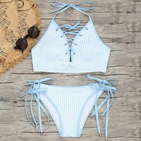 Blue Striped Lattice Bikini