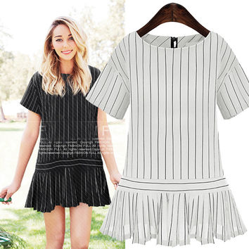 Vertical Stripe Short-Sleeve Ruffled Dress