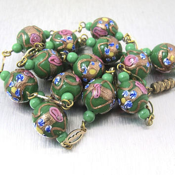 Art Deco Necklace. Venetian Wedding Cake Glass Beads. Vintage 1920's Art Glass Jewelry