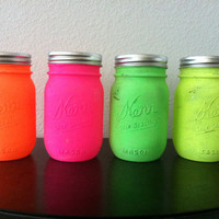 Painted Mason Jar. Neon bright . Vase. Home Decor. Neon. Summer. Set of 4