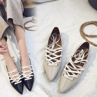 Shoes Girl 2018 Spring new retro students shallow mouth pointed flat shoes cross tied Korean shoe for women's roman shoes-in Women's Flats from Shoes on Aliexpress.com | Alibaba Group