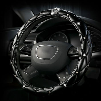 Leather Car Steering Wheel Cover Diamond Women Covers Cases Luxury Crystal Crown Studded Rhinestone For Chevrolet benz Mercedes