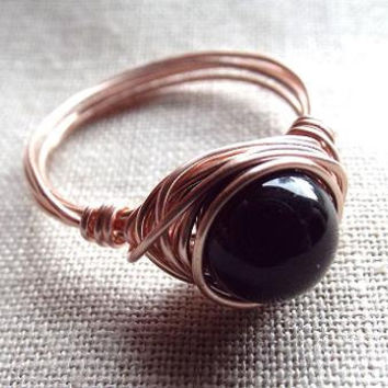 Black Obsidian ring/wire wrap ring/gold ring/gemstone ring/black ring/rose gold ring/simple ring/made to order/minimalist ring/under 15