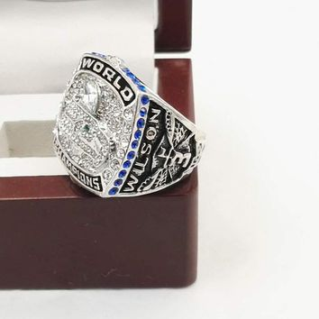 Drop Shipping Good Quality 2013 Seattle Seahawks Super Bowl Championship Rings With Gergeous Wooden Boxes