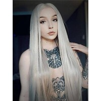 Long Ash Blonde Pearized Straight Synthetic Lace Front Wig