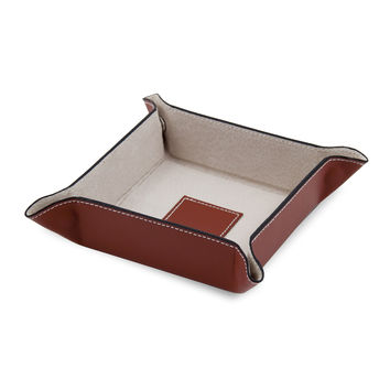 Saddle Brown Leather Snap Valet with Pig Skin Leather Lining.