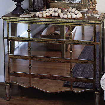 Creative Co-Op Wood and Glass Mirrored Chest & Reviews   Wayfair